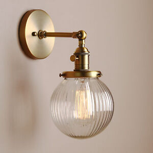 Details About 5 9 Fringe Globe Clear Gl Shade Retro Wall Light Lamp Sconce