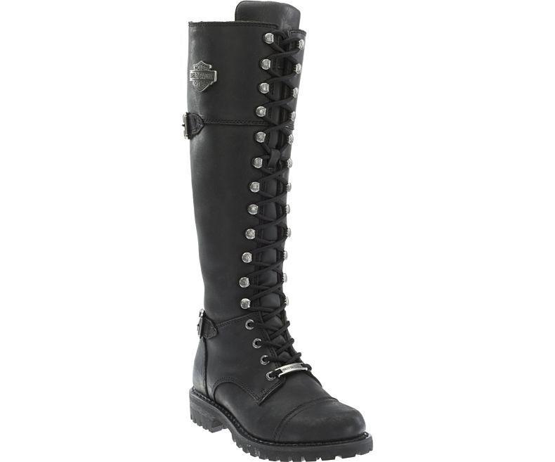 Grandes zapatos con descuento Harley Davidson Ladies Beechwood Biker Boots Black Leather Lace Up Zip Motorbike