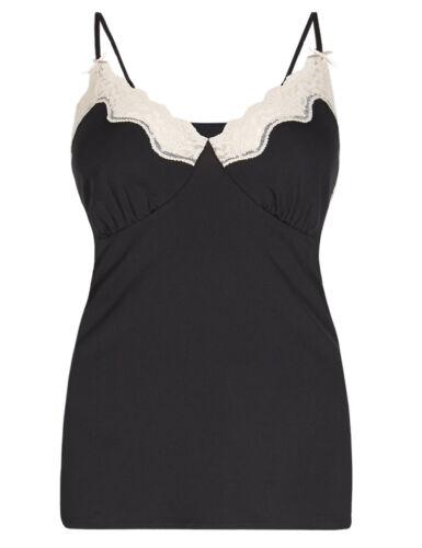 BNWOT Ex-M /& S Black Slinky Empire Line Lace-Trim Vest//Camisole 8