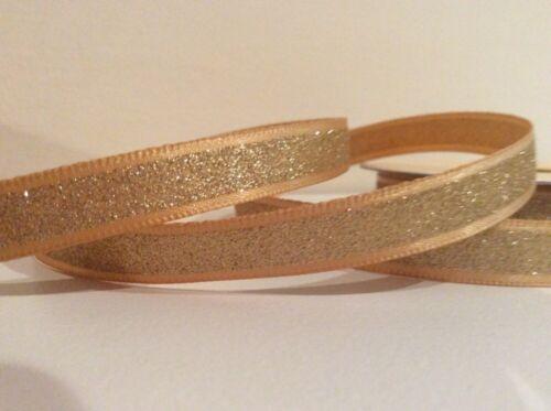 x 9.5 mm environ 0.91 m Satin Doré Paillettes Design anniversaire de mariage ruban 1 Yd