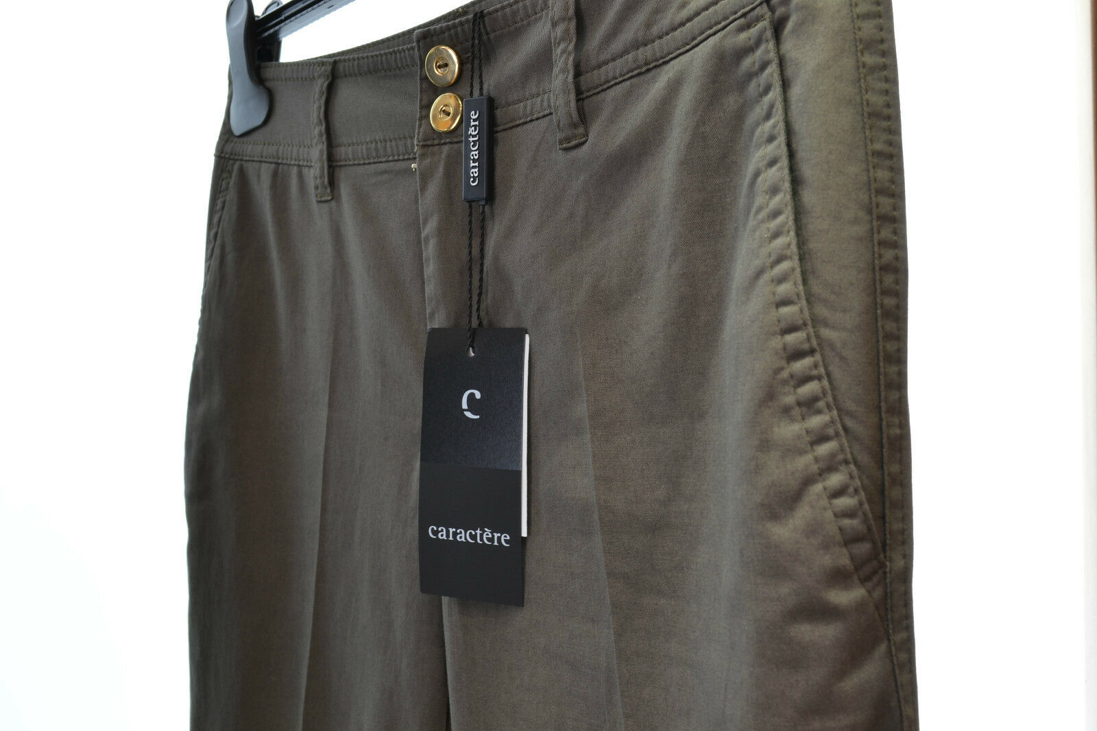 CARACTERE WOMEN'S TROUSERS SIZE 42 MILITARY GREEN COTTON