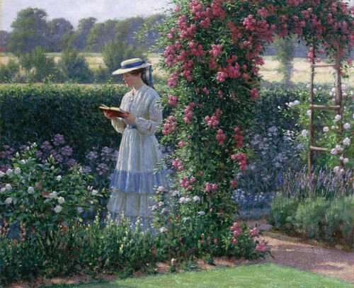 Oil painting portraits nice young girl reading book in spring landscape /& flower