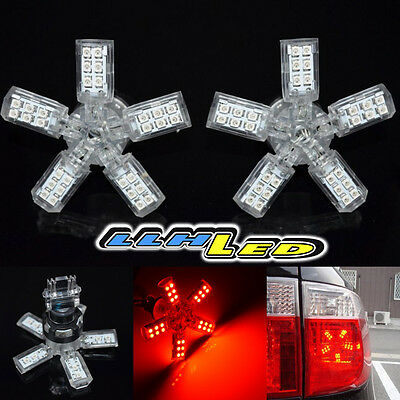 2X 3157/3457/3057 40 SMD RED LED 5 ARM SPIDER REAR BRAKE LAMP TAIL LAMP BULB P3