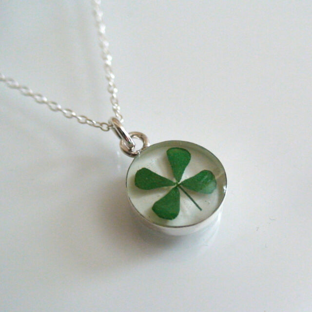 Real Four Leaf Clover Necklace - 925 Sterling Silver - Luck Lucky Shamrock *NEW*