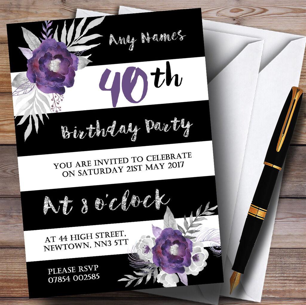 Noir blanc argent argent argent fleur pourpre 40th personnalisé fête d'anniversaire invitations 6d9c8b