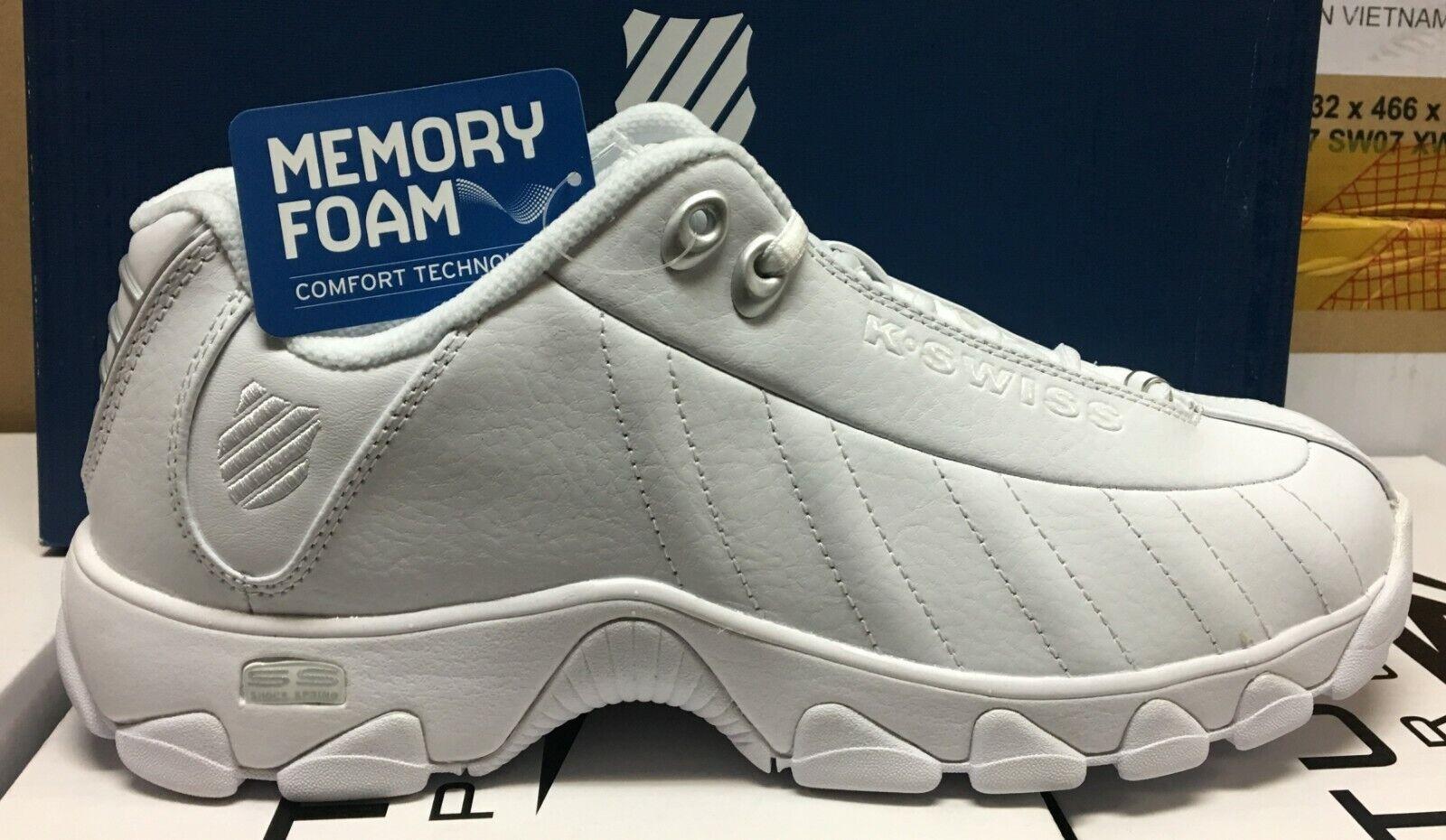 K-SWISS ST329 CMF Comfort Memory Foam Homme Casual Baskets Blanc 03426-155-M L