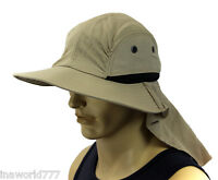 Boonie Hat Cap Sun Flap Bucket Hat Ear Neck Cover Cool Soft Material- Beige