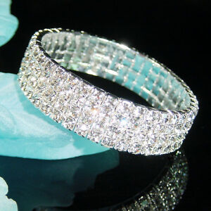 sale-Bridemaid-Prom-3-4-5-6-9-Rows-Crystal-Silver-Stretch-Bracelet-Xmas