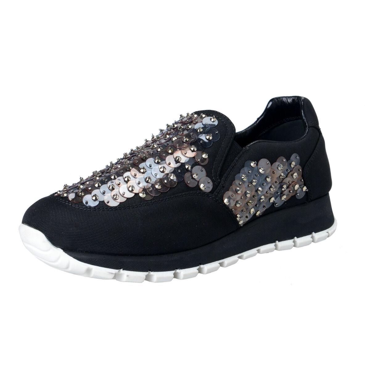Prada Femmes Sequin Décorées Mocassins Chaussures à Enfiler Sz 5 6 9 10
