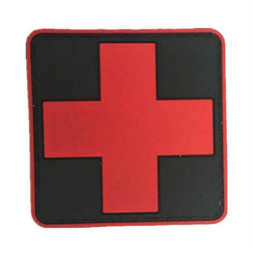 2PCS Outdoor Survival First Aid PVC Red Cross Hook Loop Fastener Badge Patch