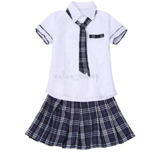 Korean Japanese School Girl Student Uniform Shirt Skirt Tie Cosplay Costume Whit