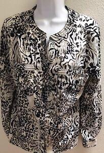 Top-Blouse-Medium-Women-039-s-Black-Floral-Print-Casual-Career