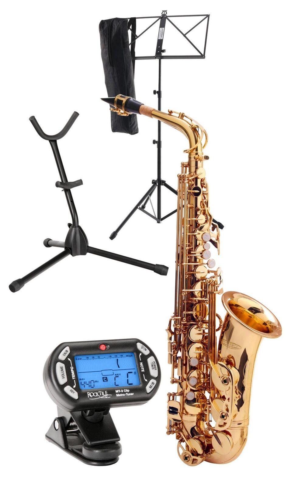 Alto Saxophone Brass Sax Wind Instrument Set Case Stand Mouthpiece Metronome