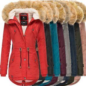 Details zu Navahoo La Viva Damen Winter Jacke Stepp Parka Mantel Teddyfell warm gefüttert