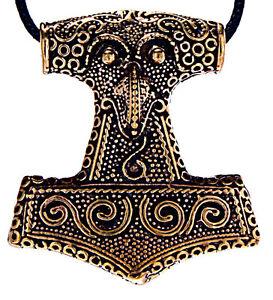 Heavy Thor's Hammer pendant Bronze Raven Mjölnir Nordic Viking Hammer Nr.57