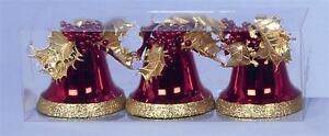 3-RED-amp-GOLD-GLITTER-CAMPANE-Decorazioni-Albero-di-Natale-altezza-10cm-NUOVA-12861