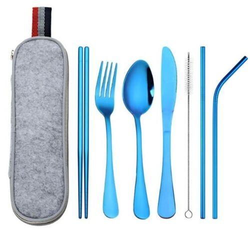 8Pcs//set Stainless Steel Cutlery Portable Spoon Fork Chopsticks Tableware Travel