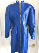 MICHAEL HOBAN North Beach Blue Leather Dress Front Zip Lined Small Vintage 80's