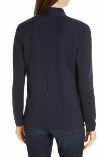 Eileen Fisher Midnight Blue Contrast Lightweight Silk Tencel Shaped Cardigan