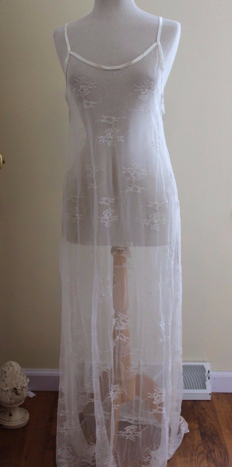 Krista Larson vit All Sheer Nylon Lace Long glida Dress O  S