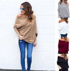 1316ef986d0 Image is loading Oversize-Lady-Off-Shoulder-Batwing-Sleeve-Knit-Sweater-