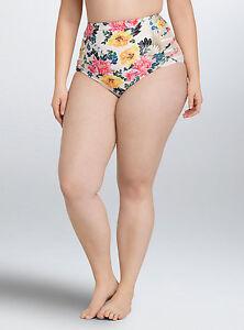 4c38faae63 Torrid Floral Lattice Mesh High Waist Swim Suit Bikini Bottom 3 22 ...