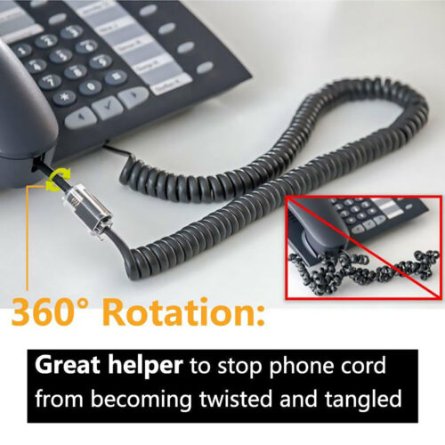 2 Telephone Handset Cord Detangler 360 Extended Rotating Phone Cord Wire Cable