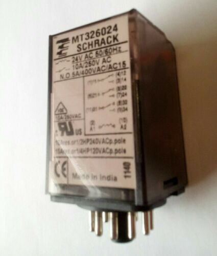 New Plug In 11 Pin Relay 24VAC  Triple pole CO contacts Shrack MT326024