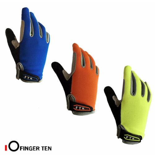 Kids Cycling Gloves Full Finger Pair Protection Grip Bike Boys Girls Padded UK