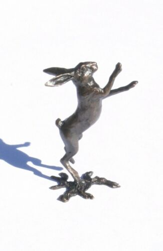 Hare Boxing Solid Bronze Miniature Sculpture Butler and Peach Boxed 2041