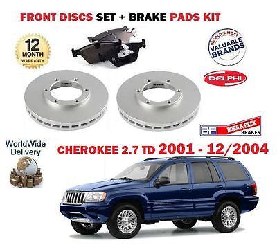 Brake Discs Vented Jeep Grand Cherokee 2.7 CRD 4x4 Front Delphi Brake Pads