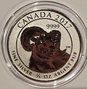 2017 Canada Big Horn Sheep Reverse Proof 3/4 Troy Oz .9999 Fine Silver Coin NEW!