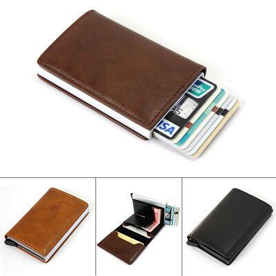 Genuine//Faux Leather Credit Card Holder RFID Blocking Pop-up Wallet Money US