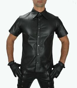 MEN-039-S-REAL-BLACK-LEATHER-POLICE-MILITARY-STYLE-SHIRT-GAY-HALF-SLEEVES