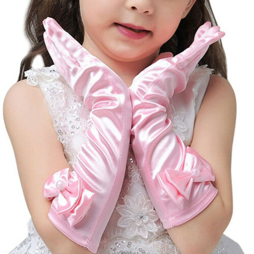 1 Pair Girls Satin Bow Gloves Princess Wedding Party Dress Dance Long Gloves UK