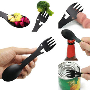 Multifunctional-Camping-Cookware-Spoon-Fork-Bottle-Opener-Portable-Tool-AA