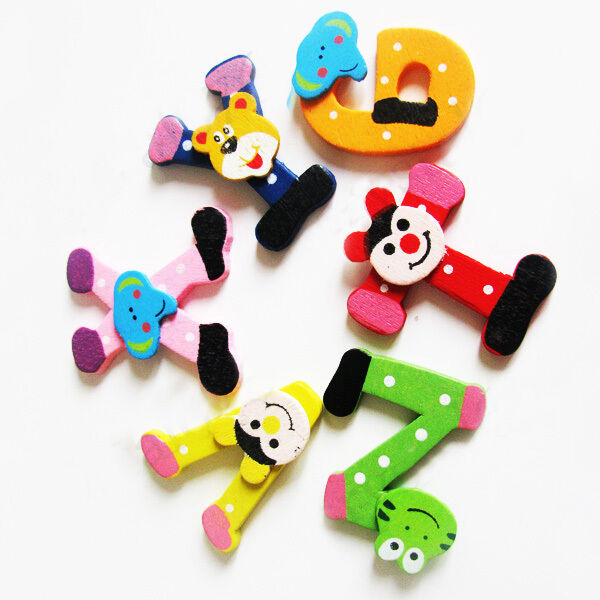 26  Wooden Alphabet Fridge Magnet Educational Study Toy For Children Kids