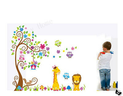 Wall Stickers Safari Animals and Happy Owls Children's Room Nursery Decorations
