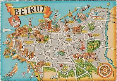 Cartina Del Libano.Beirut Cartina Geografica Piantina Libano 1966 Ebay