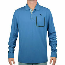 PUMA GOLF MEN'S LUX BLEND LONG SLEEVE POLO SHIRT FEDERAL BLUE SIZE:XL NEW! 16435
