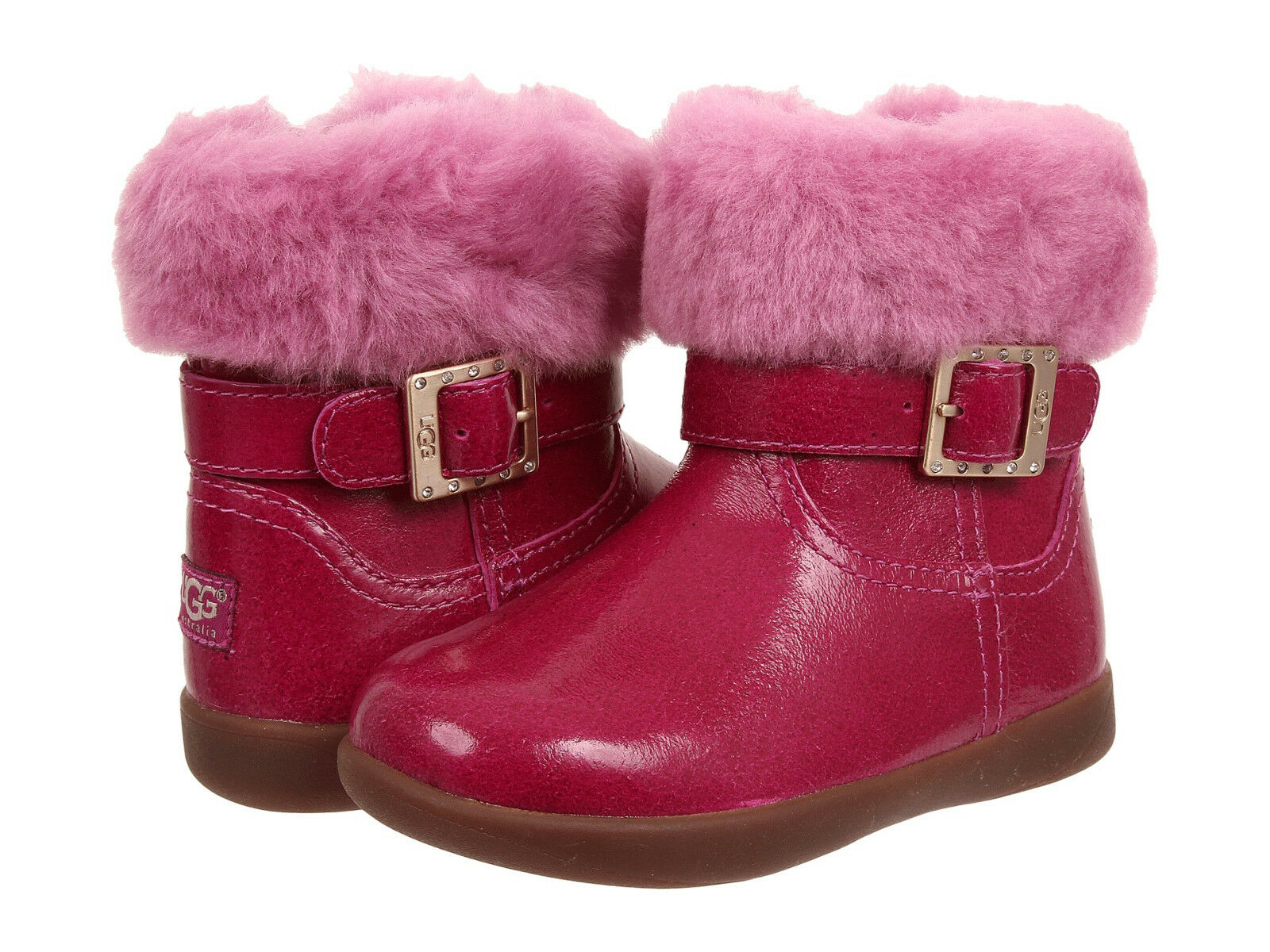 Toddler UGG Australia Gemma Patent Leather 1005149T V Pink 100% Authentic B. New