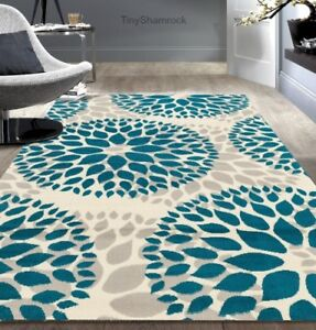 Image Is Loading Teal Gray Area Rug Floral Medallion 5 X