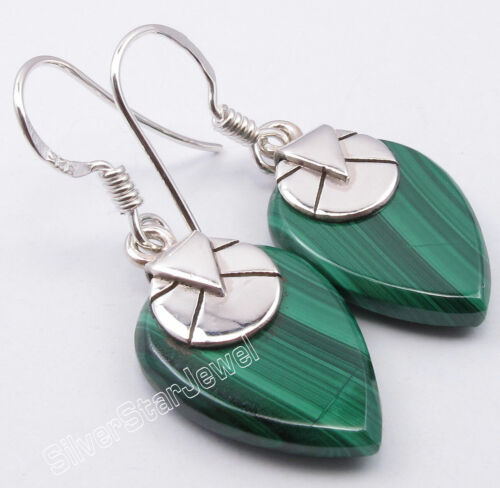 925 Argent Massif 13 x 18 mm Vert Malachite 14.0 total Carat peser Drop Dangle Boucles d/'oreilles 1.4/""