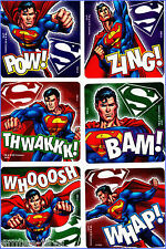Superman Stickers x 6 - Glow in the Dark - Super Hero - Birthday Party Favours