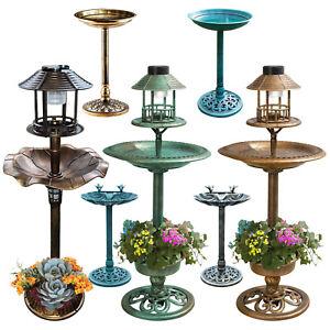 Bird-Bath-Feeder-Bowl-With-Solar-Light-Garden-amp-Patio-Bird-Feeding-Table-Station