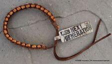 "Leather Bracelet 11"" Brown Tan Woven Design Rugged Jewelry Men Women Child A"
