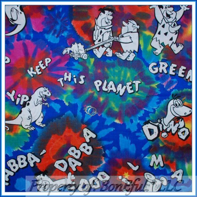 BonEful Fabric FQ Cotton VTG Tie Dye Flinstone Kid Character Dino Retro Hippie