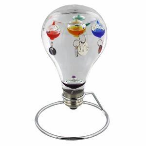 Light Bulb Design Galileo thermometer On Metal Stand