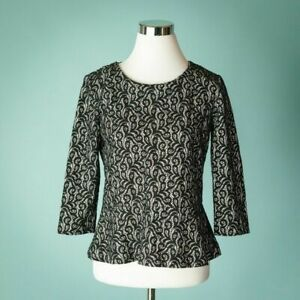 J-Crew-Medium-Black-Top-Blouse-Shirt-Peplum-Lace-Knit-3-4-Sleeve-Career-Work