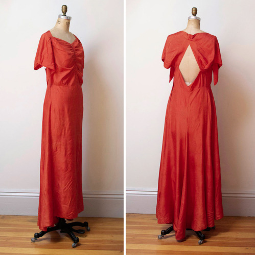 vintage 20s 30s coral red sweetheart open back go